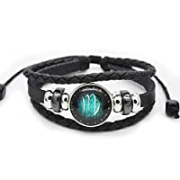 Abbyabbie.Li Bracelet Leather 12 Constellations Luminous Hand-Woven Adjustable Unisex Couples Bracelets Retro Punk Bangle Hand Chain Jewelry Gifts for Men Women (Girth 6.69-10.6in/17-27cm) - Virgo