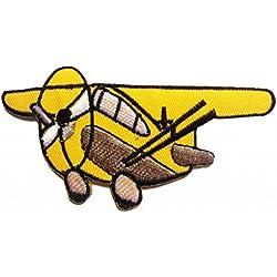Toppe termoadesive - aereo bambini - giallo - 10.3x5.7cm - Patch Toppa ricamate Applicazioni Ricamata da cucire adesive