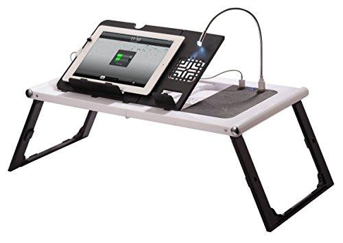 1PLUS mobiler faltbarer Laptopständer Tabletständer E-Book Reader Ständer mit 10.000 mAh Akku Power Bank, LED Leselampe, 2 USB und 1 Mini USB Anschlüssen
