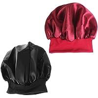 Lurrose 2pcs gorro de dormir de seda Color sólido Sombrero nocturno  Sombreros para la pérdida del 7d0401f8f09