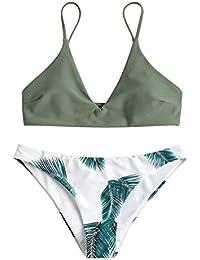 81cfbc3b61c4a7 ZAFUL Damen Gepolsterter Bikini Set Bademode Badeanzug mit Blatt Pattern  Zweiteilig