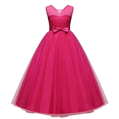 ♥ Loveso♥ Mädchen Kinder Spitze Tüll Hochzeit Kleid Prinzessin Kleider Festzug Party Spitze Tüll Brautjungfern Kleider - Schwarze Schuhe 9t