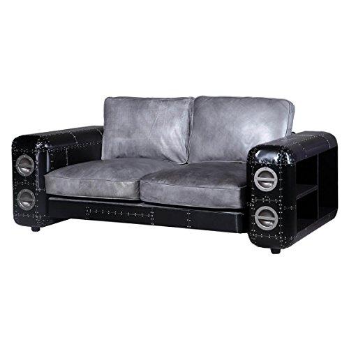 Sofa Nibe 2-Sitzer in Leder Silber und Schwarzblech