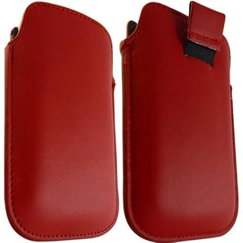 ONX3 Blackberry 9100 Red Pearl cuero tire de la lengüeta de protección Funda + LCD Protector de pantalla