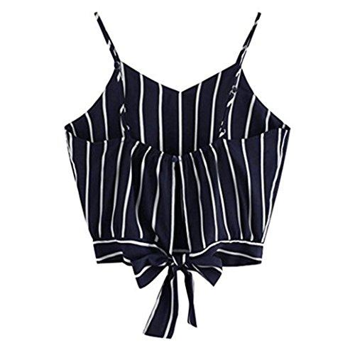 SHOBDW Weste Frauen Sommer V-Ausschnitt Gestreiften Trägerlos Streifen Crop Cami Top Damen Camisole Bluse T-Shirt (S, Marine)