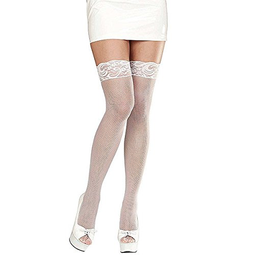 LACE TOP FISHNET THIGH HIGHS - WHITE (Lace Thigh Highs Fishnet Top)