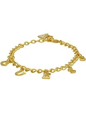 Guess Damen-Armband ICONIC CHARME mit Anhänger Edelstahl teilvergoldet Kristall weiß 19 cm-UBB61081-S