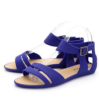 LvYuan Damen-Sandalen-Lässig-PVC-Flacher Absatz-Komfort-Blau / Grün / Beige Blue
