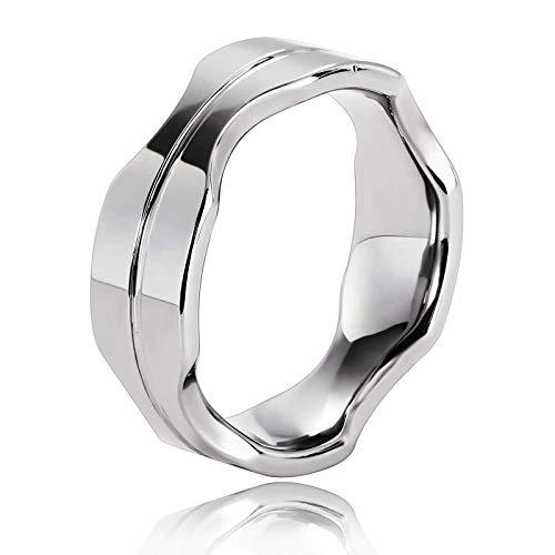 Blisfille Silberring Liebe Ring Herren Herren Ring Edelstahl Graviert Muster Unregelmäßig Ring Für Herren Silber Breite 8Mm Ringe Größe 60 (19.1) Verlobung Band Männer