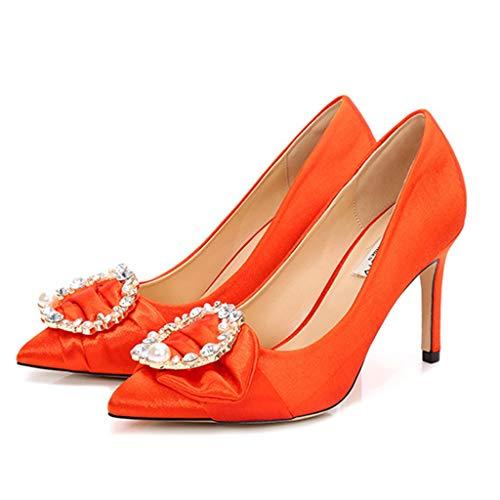 Plissee Strass (Yra Womens Satin High Heels Closed Toe Strass Plissee Hochzeitsgesellschaft Brautschuhe für Damen Business Work Pumps Schuhe,Orange-40)