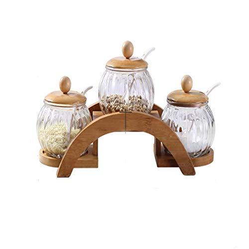 HENGTONGTONGXUN Spice Box, Glas Keramik Bambus Rack Küche Gewürzglas Spice Box, ist die Beste Wahl für Küchenutensilien Neueste Modelle (Style : C)