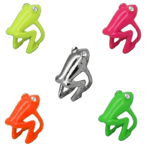 hrclip Earcuff Gecko Frosch Mensch Gothic silber pink gelb, Modell:Modell 3;Farbe:pink (Ear Cuff Gecko)