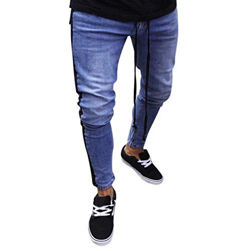 Jeans für Herren,Transwen Mode Männer Stretch Denim Hosen Distressed zerrissen ausgefranste Slim Fit Zipper Jeans Hosen Freizeithose Jeans Biker Hose Freizeit Deim Jeans (S, Schwarz) -