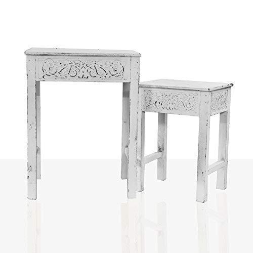 DRULINE 2er-Set Beistelltisch aus Holz mit Shabby-Chic Ornament Weiß (Groß & Klein) -