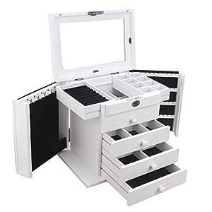 BELLAMORE GIFT Holz Schmuckkästen mit 4 Schubladen und Spiegel Schmuckkoffer Schmuckkasten Schmuckaufbewahrung 31 * 21 * 28 cm