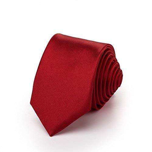 (Rusty Bob - Krawatte schmal/dünn 3cm-5cm für Herren [auch für Kinder/Jungen] (uni,nicht gestreift) aus Polyester glänzt wie Seide - Magenta)