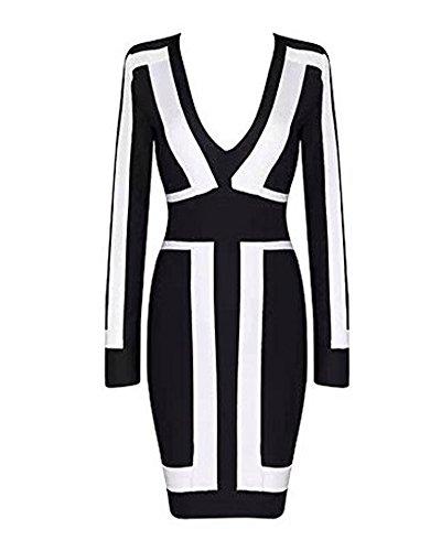 arm Schwarz-Weiß-Grafik-Druck-Partei-Verband-Kleid Bodycon (S, schwarz) ()