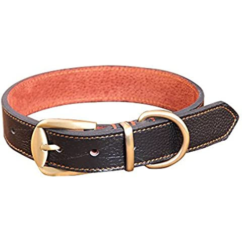 Peting AdjustableSoft collar de perro de cuero para el entrenamiento / medio / grande del perrito Pequeño perro de Terrier del perro de aguas de Labrador