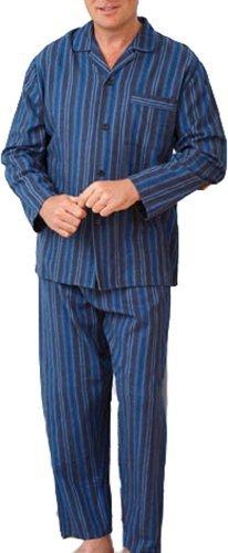 Herren Gebürstete Baumwolle Pyjama Set Nachtwäsche Flanell Schlafanzüge Gestreiftes Muster Design - Blau, Herren, XL (Set Gestreiften Pyjama Baumwolle)