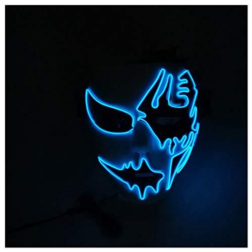 GRYY Highlight EL Kaltlicht Fluoreszierende Maske Make-up Party leuchtende handbemalte Maske Halloween Cosplay Halloween-Kostüm,Blue-Voice Control