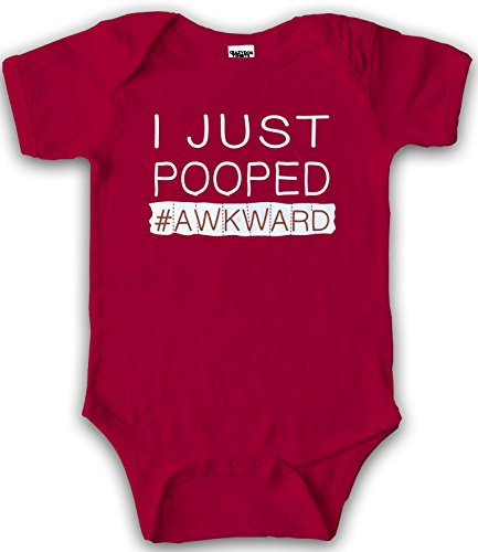 Crazy Dog TShirts - I Just Pooped Baby Creeper Funny Poop Romper Hashtag One Piece For Infants (red) 12-18 Months - baby-jungen - 12-18 Months (Baby Infant Creeper)