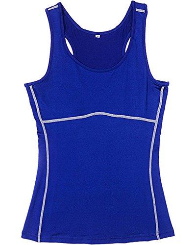 Débardeur de Compression Femme Sans Manches T-shirt De Sport Bleu