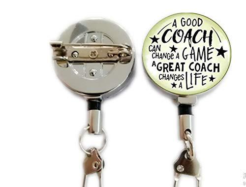 """Swim Coaching Schlüsselanhänger, Aufschrift """"A Great Coach Changes A Life"""", Aufschrift""""Thank You Swimming Instructor"""", Geschenk einziehbarer Ausweishalter Karabiner Spule Clip On Ausweishalter"""