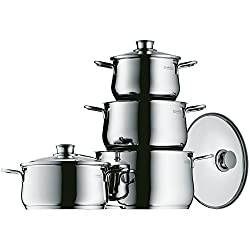 WMF Diadem Plus pot set 4-parts, Cromargan polished stainless steel, pots with glass lid, induction pots, pot induction, uncoated
