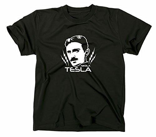 Nikola Tesla T-Shirt, nerd, M, Schwarz