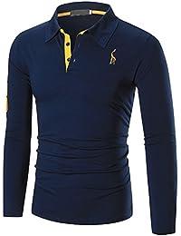 YCHENG Hombre Polo Manga Larga Moda Lujo Jirafa Bordado Contraste Collar Golf Camiseta