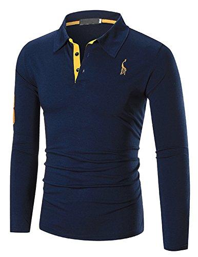 YCHENG Herren Poloshirt Langarm Slim fit Polokragen Polohemd Freizeit Sport Langarmshirt Blau X-Large (Polo Golf Herren Ärmel)