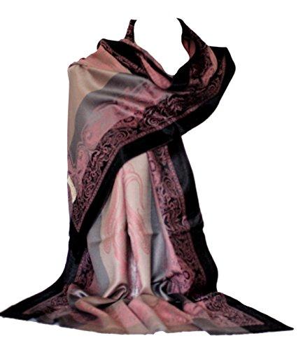 Selbstgeprägte Paisley Border & Motiv Elegant Beige Grau Streifen Pashmina Feel Schal Wrap Schal Stola Kopf Schals (Pastell Rosa) - Schal Streifen Pashmina