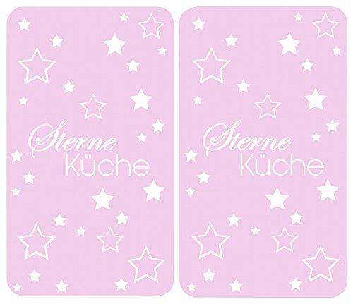 Wenko 2521477500 Herdabdeckplatte Universal Sterneküche für alle Herdarten, Gehärtetes Glas, 2-er Set, rosa, 52 x 30 x 4,5 cm