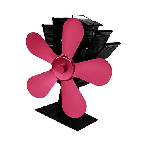 Fenteer Stromloser Hitzebetriebener 5 Flügel Ventilator Ofenventilator für Holzofen Kamin Öfen - Rose Rot