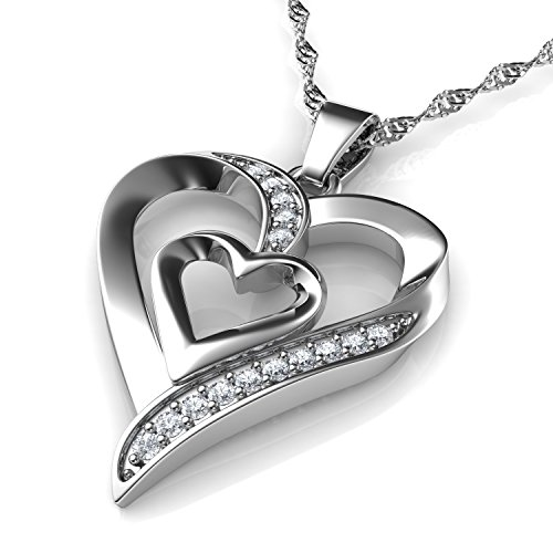 41cVshFCKYL BEST BUY #1FreeCrows Double Heart Necklace | Cubic Zirconia | 925 Sterling Silver Heart Pendant Necklace | necklaces for women | Gifts for Women price Reviews uk