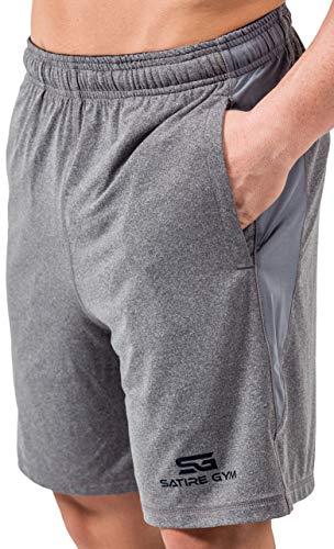 Satire Gym - Herren - Kurze Sport Hose - Fitness Loose Fit Shorts - (Grau M)