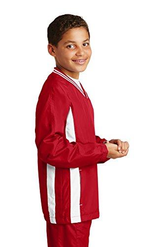 Sport-tek Herren Raglan (Sport-Tek Jungen Raglan-Windshirt mit V-Ausschnitt Gr. Large, True Red/White)