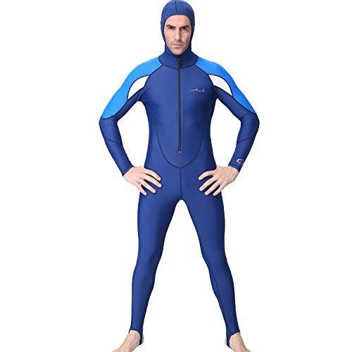 QIMANZI Neoprenanzug Herren mit Kapuze Taucheranzug Lang Ganzkörper Taucheranzug Surf Schwimmen Overall(Blau,XL) (Ganzkörper Schwimmen Kostüm)