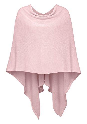 Cashmere Dreams Poncho-Schal aus Baumwolle - Hochwertiges Cape für Damen - XXL Umhängetuch und Tunika - Strick-Pullover - Sweatshirt - Stola für Sommer und Winter Zwillingsherz (rosa) - Kaschmir Like Strickjacke