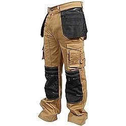newfacelook Hommes Travailler Cargo Pantalon Genou Holster Poche Kaki W34-L34