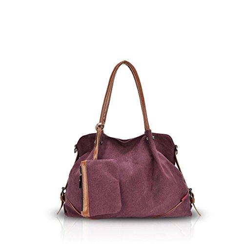 Nicole&Doris Nuove donne / Donne a tre pezzi Canvas Handbag spalla Preppy Style Big Bag Rosso scuro - Cuore Canvas Tote