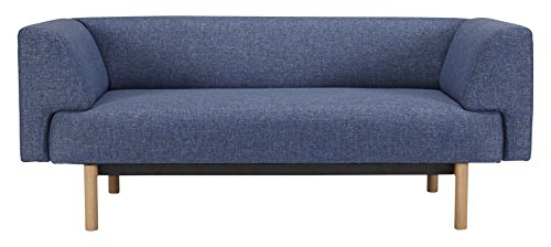 Kragelund K21002202245 Canapé fixe 2 places Tissu Bleu 168 x 85 x 65 cm