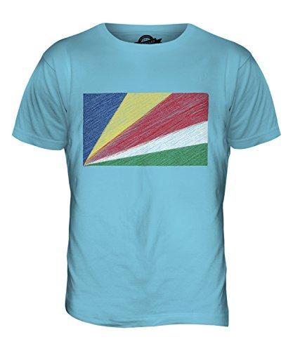 CandyMix Seychellen Kritzelte Flagge Herren T Shirt Himmelblau