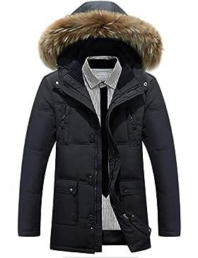 MHGAO Nueva grueso cuello de la piel de los hombres de la capilla de invierno por la chaqueta , black , xl