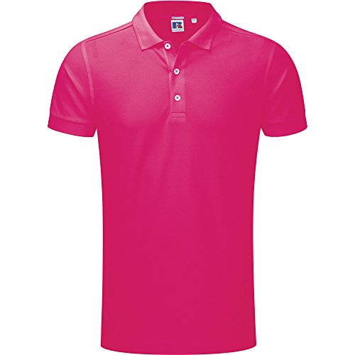 Russell Unisex Stretch Polo Shirt Pink (Cotton Herringbone Polo)