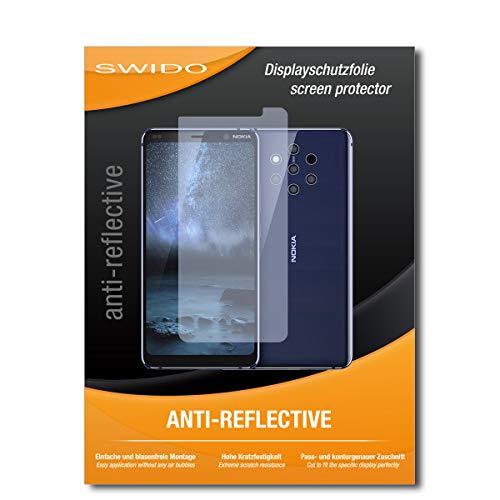 SWIDO Schutzfolie für Nokia 9 PureView [2 Stück] Anti-Reflex MATT Entspiegelnd, Hoher Härtegrad, Schutz vor Kratzer/Displayschutz, Displayschutzfolie, Panzerglas-Folie
