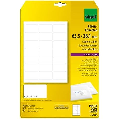 Sigel LA320 - Etiquetas de correspondencia (525 unidades en 25 hojas, 63.5 x 38.1 mm, A4), color blanco