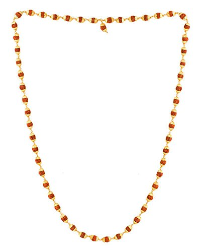Factorywala Gold Plated Rudraksha Beads Chain / Mala In Ring Studded Style For Men Boys