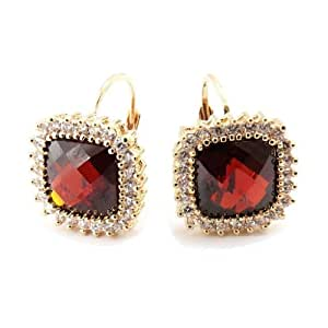 Earrings gold plated 'Sissi'garnet.