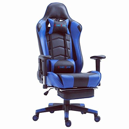 Storm racer da ufficio relax con sedile sportivo larga sedia ergonomiche da alta sportiva con supporto lombare e poggiapiedi regolabile, blu / nero